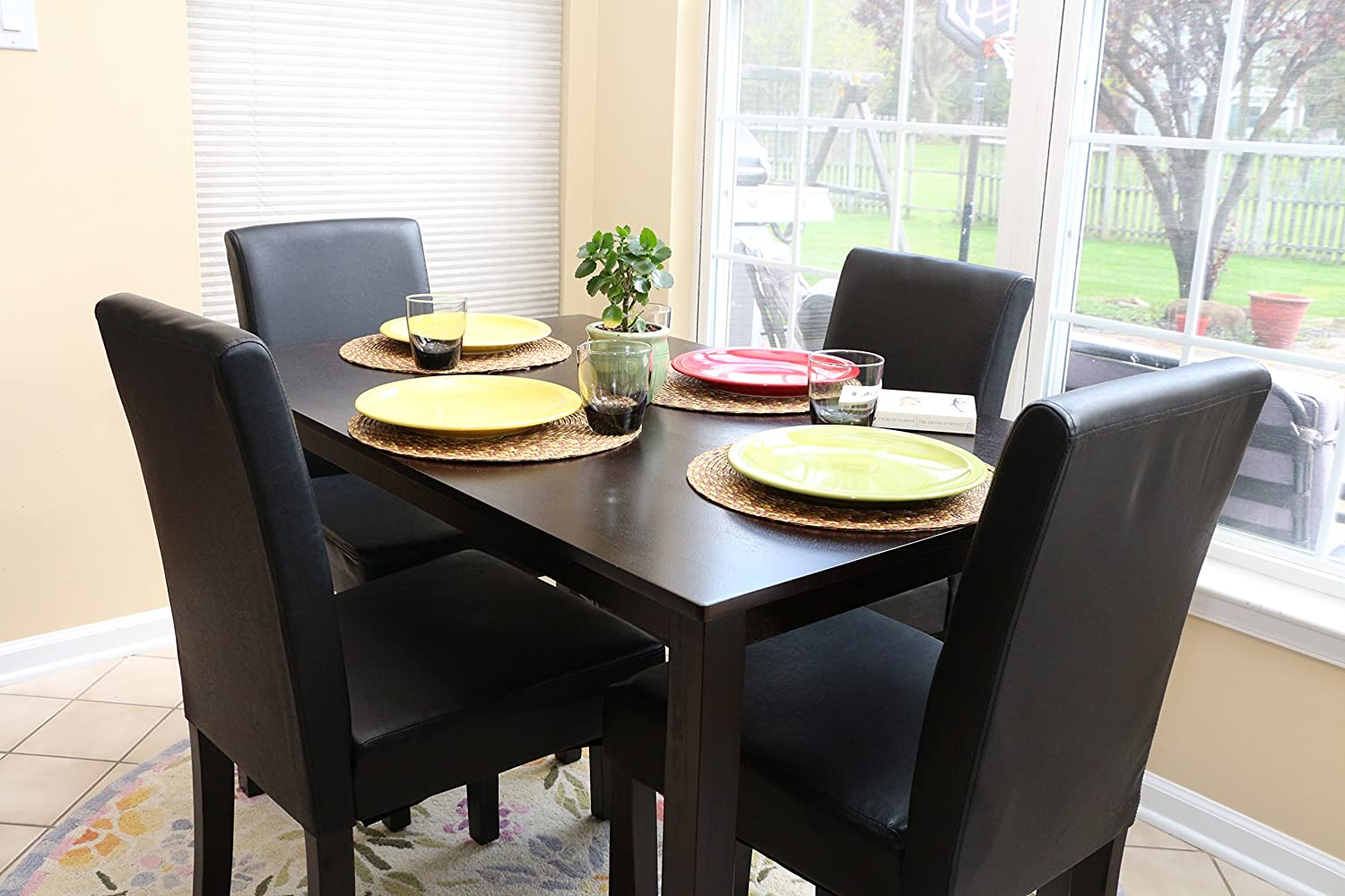 Amazon.com - 5 PC Black Leather 4 Person Table and Chairs Brown ...