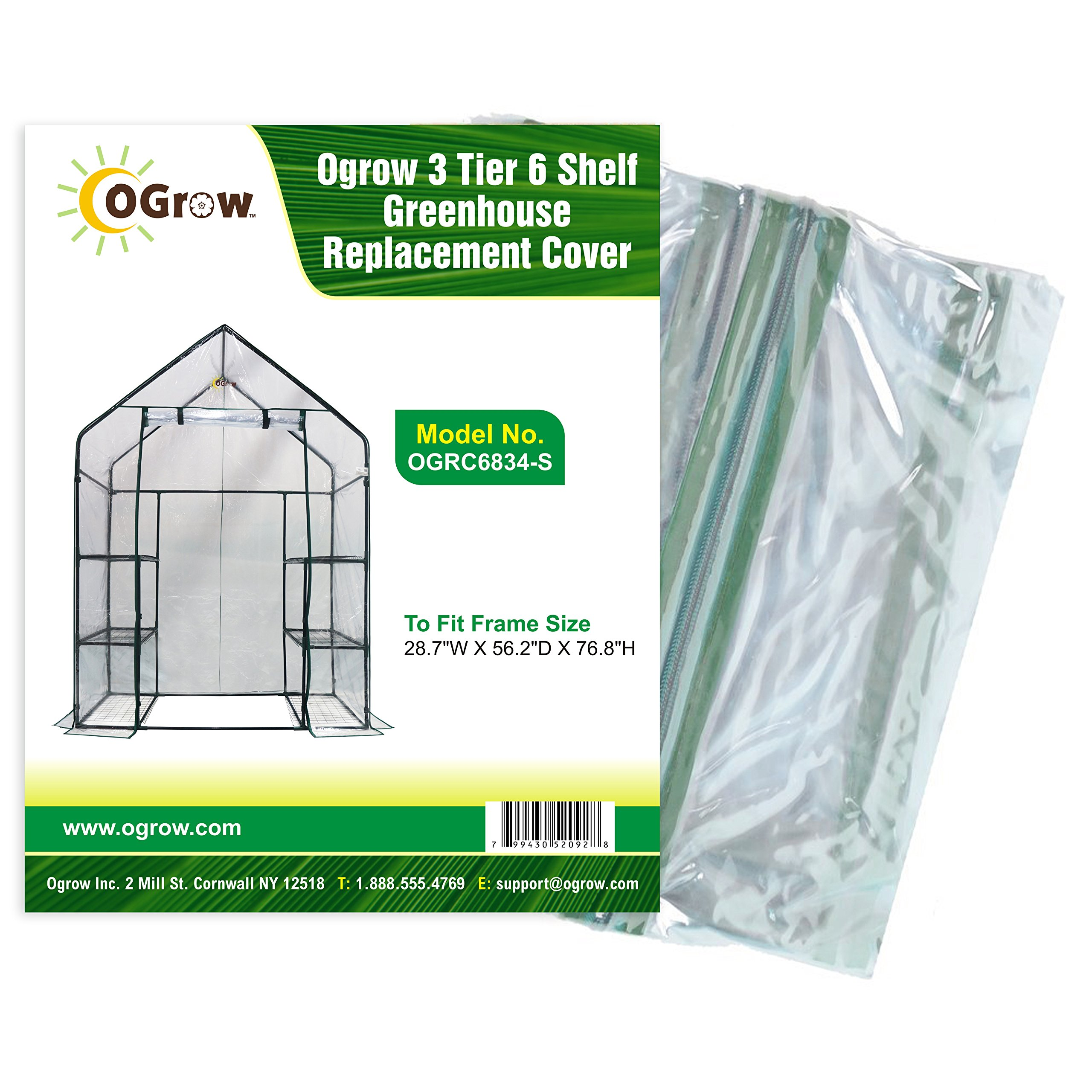 OGrow 3 Tier 6 Shelf Greenhouse Replacement Cover, 28.7 x 56.2 x 76.8-Inch by OGrow