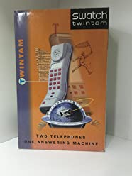 Vintage Modern Swatch Twintam With Answering Machine White Twin Telephone