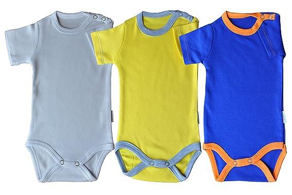 Kurzarm-Babybodys blau//orange Gr/össe 56 Body Unisex aus 100/% Baumwolle mit Druckkn/öpfen
