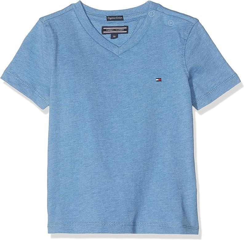 Tommy Hilfiger Boys Basic Vn Knit S/s Camiseta, Azul (Dark Allure Heather 408), 140 (Talla del Fabricante: 10) para Niños: Amazon.es: Ropa y accesorios