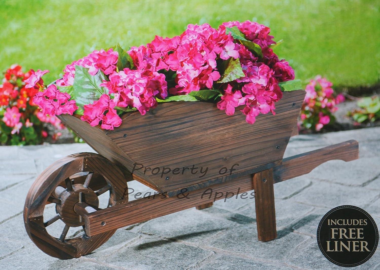 Carretilla-macetero decorativo de madera para jardín: Amazon.es: Jardín