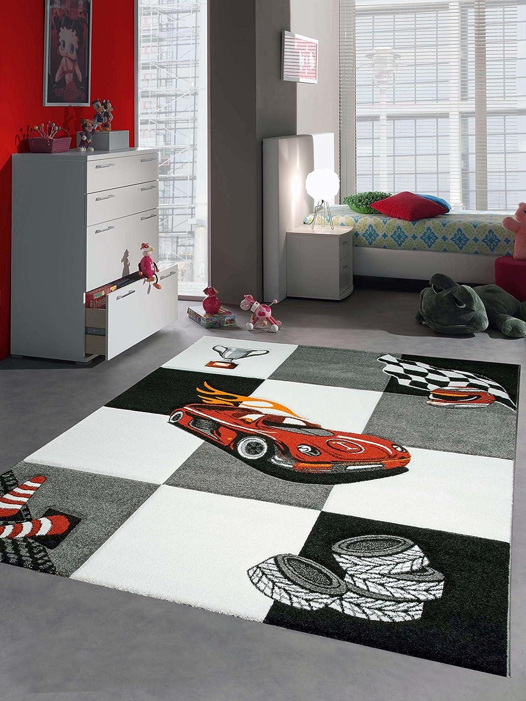 Kinderteppich Auto Kinderzimmerteppich Rennauto mit Konturenschnitt in Grau Weiß Schwarz, Größe 160x230 cm