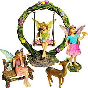 Mood Lab Fairy Garden Kit - Miniature Figurines with Accessories Swing Set of 6 pcs - Hand Painted for Outdoor or House Decor