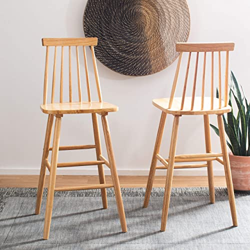 Safavieh Home Collection Beaufort Spindle Back Natural 30-inch Bar Stool Set of 2