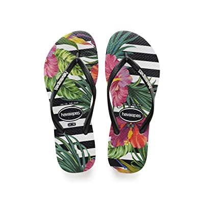 Havaianas Women's Slim Tropical Sandal, Black/Black/Imperial Palace, 11/12 M US | Flip-Flops