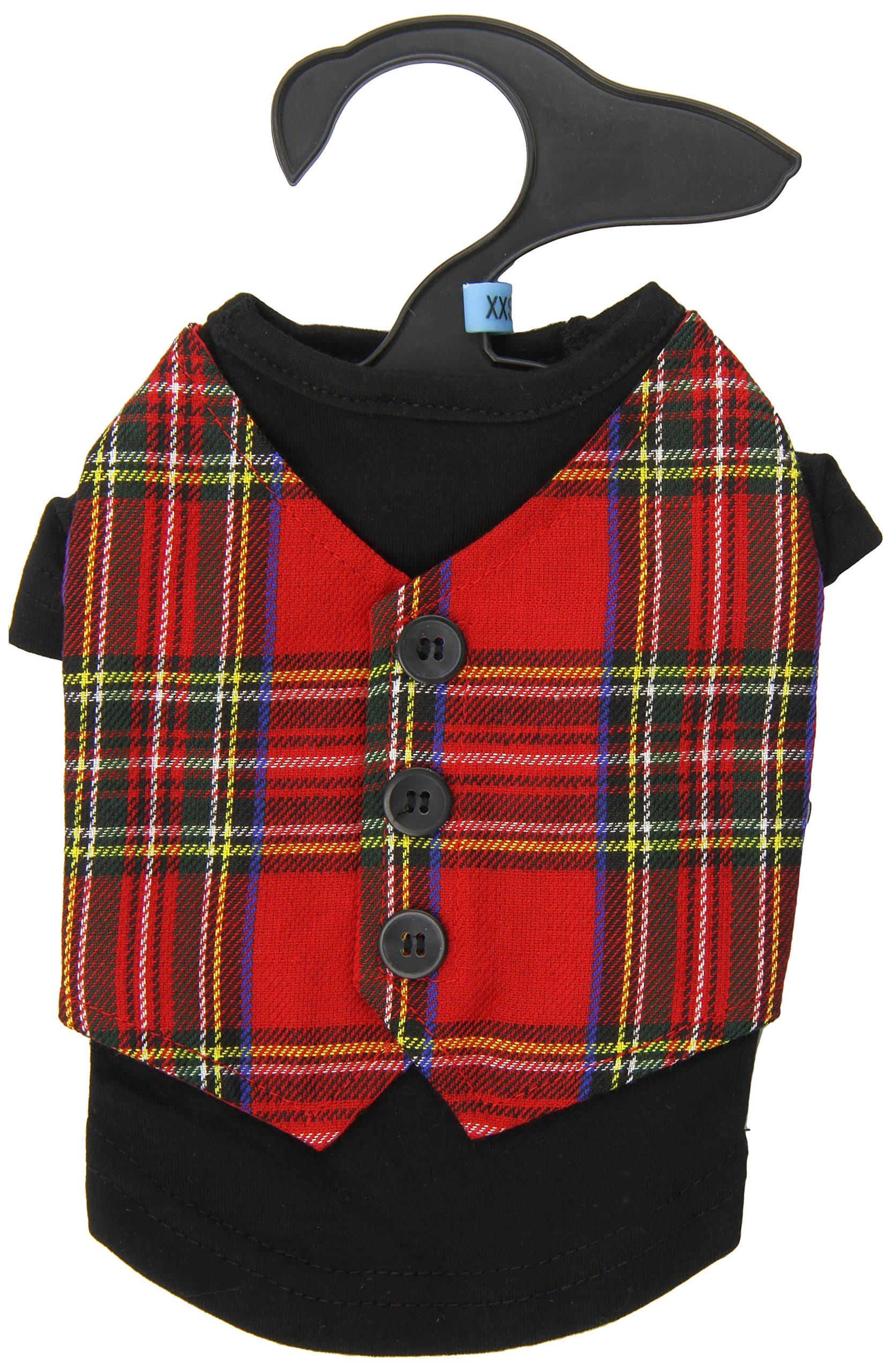Holiday Tartan Dog Vest in Red xs