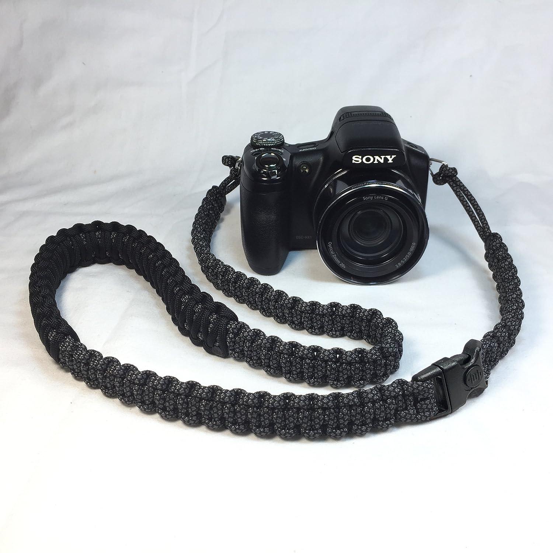 チャコールグレーとブラックダイヤモンド パラコード 44インチ デジタル一眼レフカメラ ネックショルダー 安全ストラップ セキュリティバックル付き B07D3JHT2V