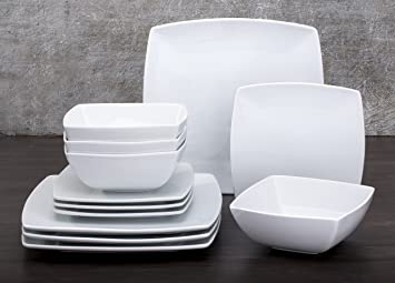 & 12 Piece Oxford White Square Dinner Set: Amazon.co.uk: Kitchen \u0026 Home