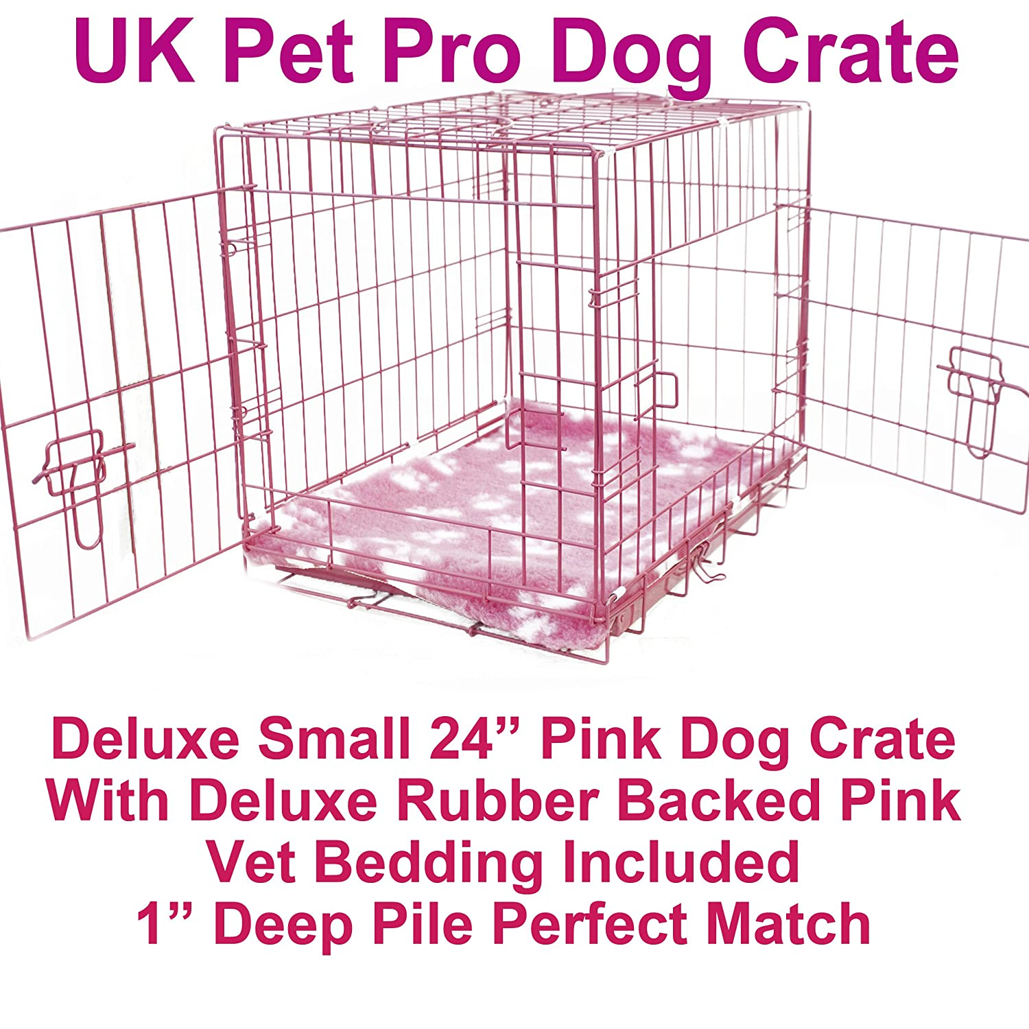 Dog Crate Puppy Cage Folds Flat Pink 24