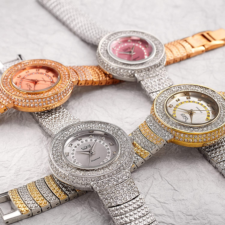 Burgi Diamond Accent Crystal Fashion Watch - Twelve Genuine Diamond Hour Markers On Three Rows Crystals on Bezel - BUR048 Rose Gold