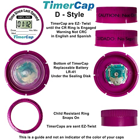TimerCaps with Large Vials (Qty 2) - LCD Stopwatch Timer Automatically Tracks Time Elapsed Between Doses - Pill Reminder for Medications and Vitamins