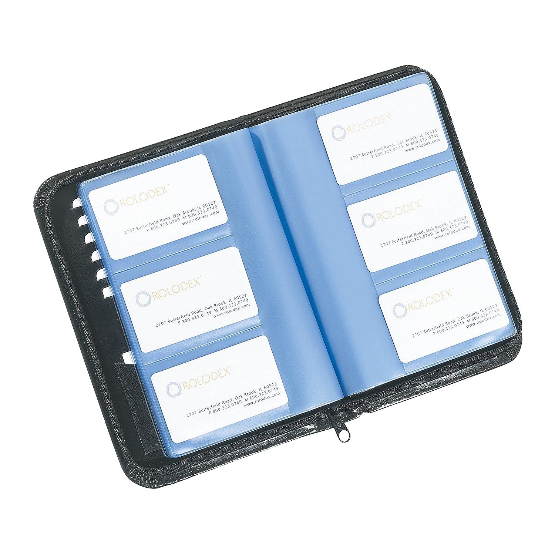 Amazon.com : Rolodex Business Card Book with Zipper, 120-Card, Black ...