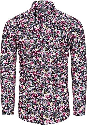 fohemr Camisa de Manga Larga para Hombre Estampado Floral Casual con Botones Camisa Retro Flores Estilo 100% algodón: Amazon.es: Ropa y accesorios