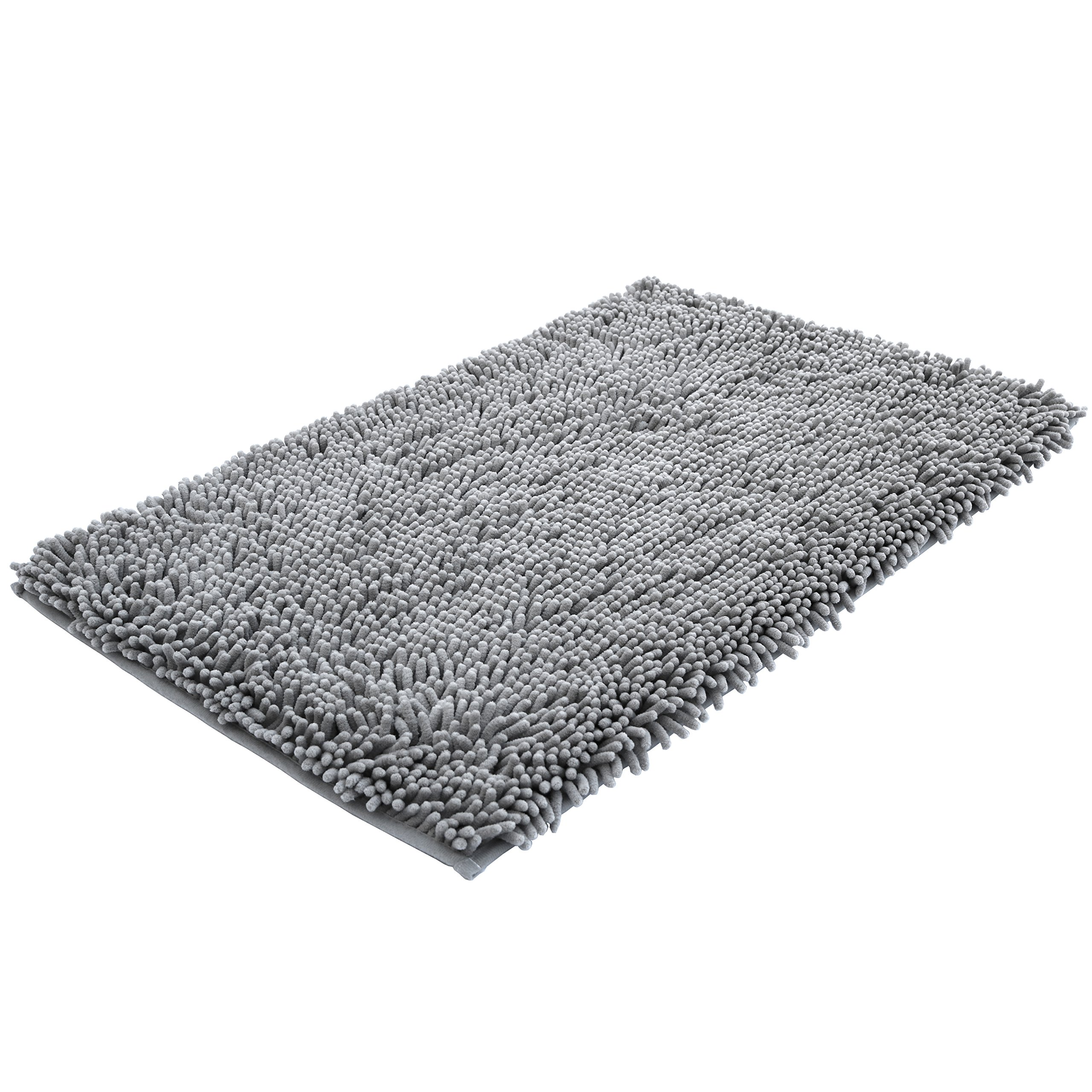 NTTR Super Soft Bath Mat Microfiber Shag Bathroom Rugs Non Slip Absorbent Fast Drying Bathroom Carpet Shower Rug by (Gray 20'' x 32'')