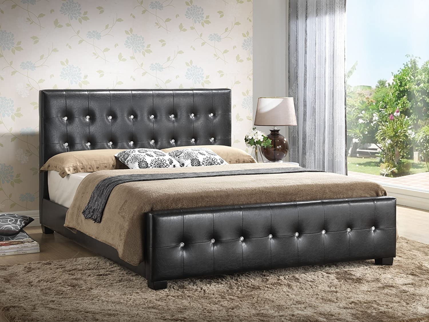 Amazon.com: Black   Queen Size   Modern Headboard Tufted Design Leather  Look Upholstered Bed: Kitchen U0026 Dining