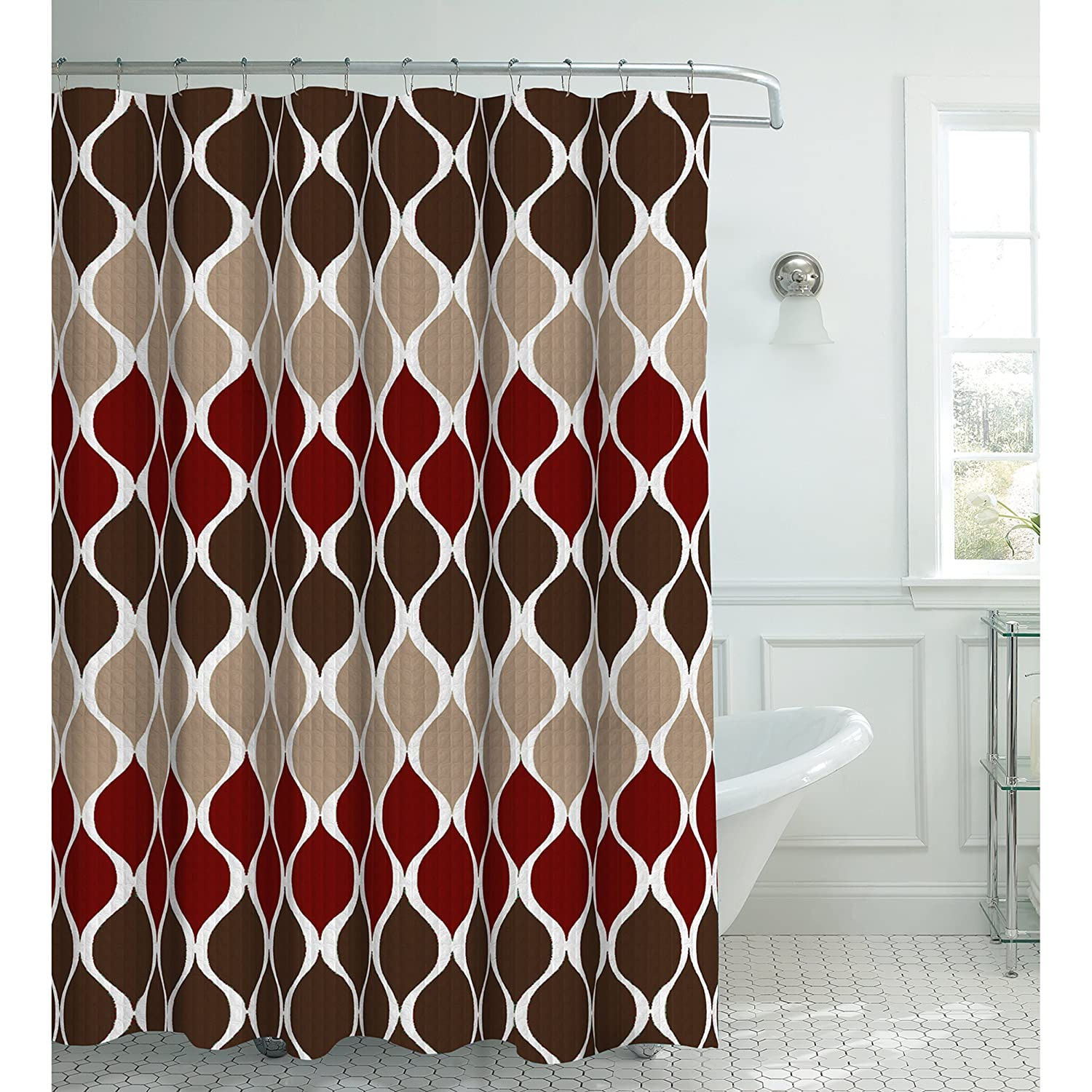red and tan shower curtain. Amazon com  Clarisse Faux Linen Textured 70 x 72 in Shower Curtain with 12 Metal Rings Espresso Home Kitchen