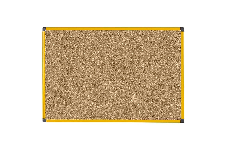 Tabl/ón de anuncios de corcho con marco de aluminio Bi-Office Ultrabrite 120 x 90 cm color amarillo