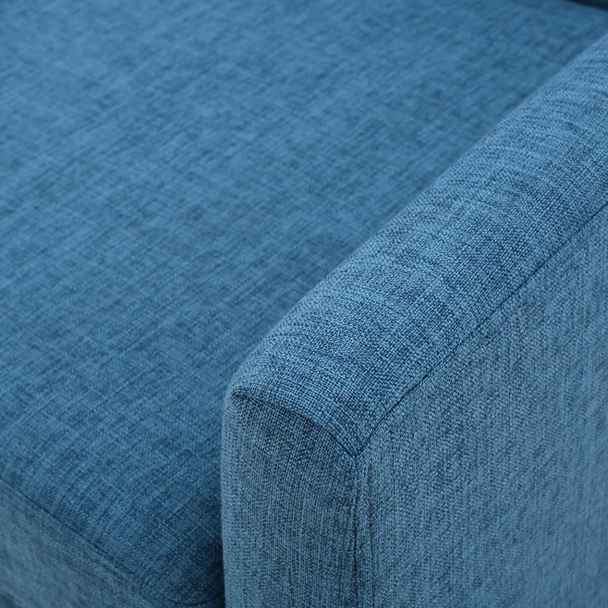 Archibald | Mid Century Modern Fabric Accent Chair | in Blue