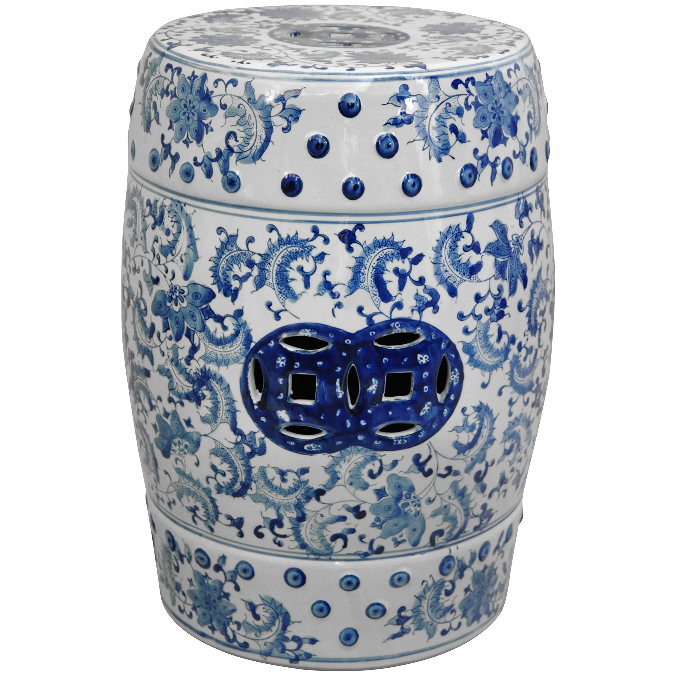 Oriental Furniture 18'' Floral Blue & White Porcelain Garden Stool by ORIENTAL Furniture (Image #1)