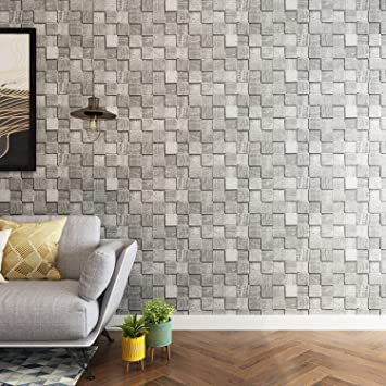 Nice Houzz Brick Wallpaper 3d Industrial Look Grey Color Modern Vinyl Wall Paper For Barthroom Bedroom