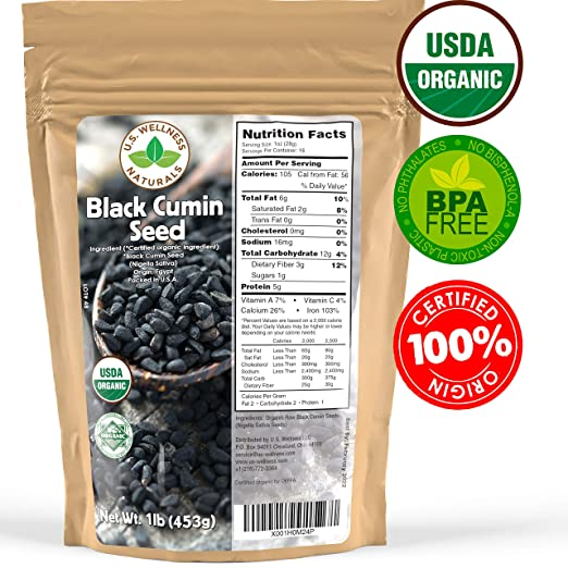 Black Cumin Seed 1lb (16Oz) (Bulk Nigella Sativa): 100% USDA Certified ORGANIC Bulk Egyptian Black Seeds (Black Caraway) - AKA Nigella or Kalonji, by U.S. Wellness Naturals