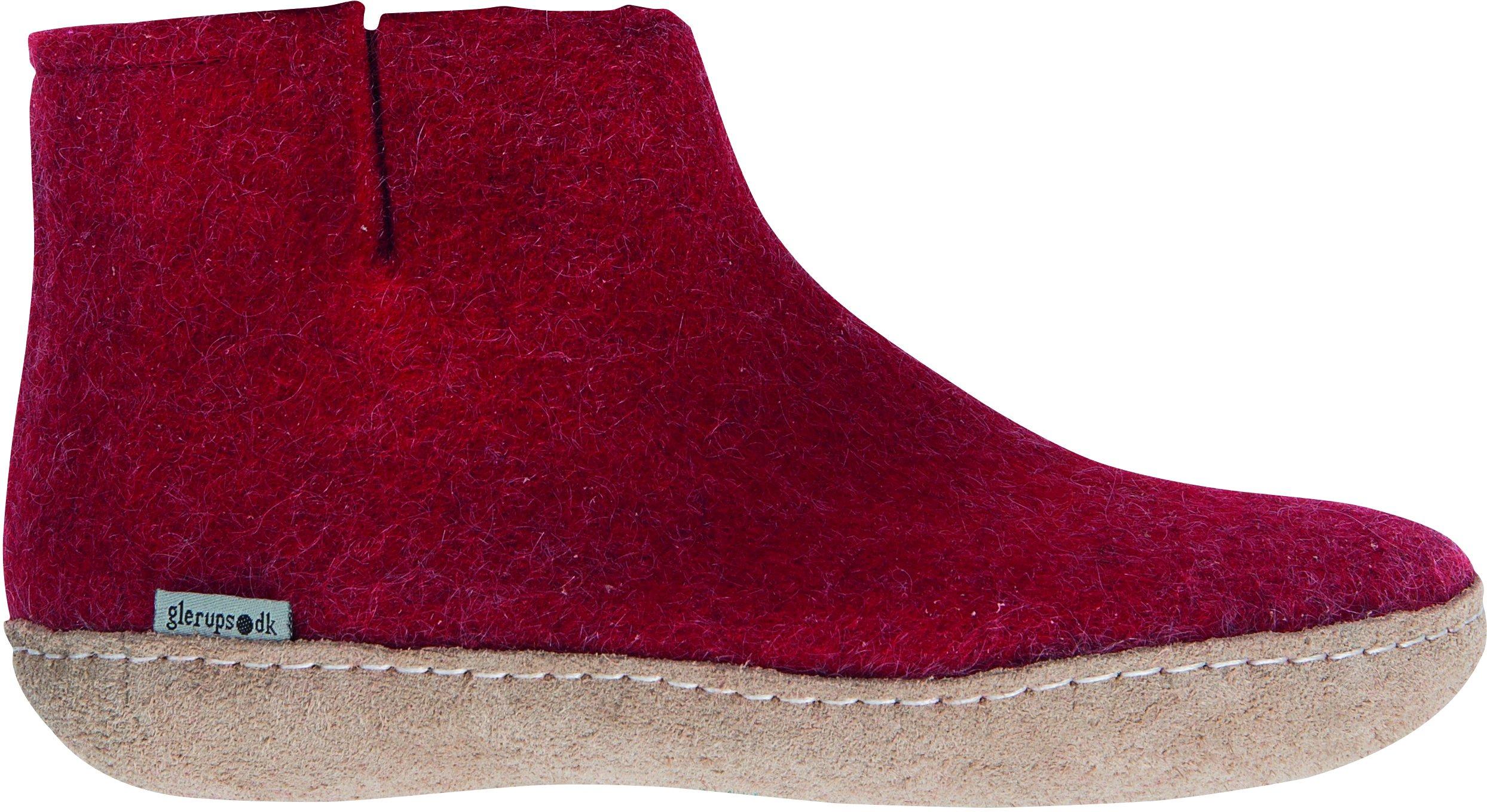 Glerups Felted Wool Boot,Red,EU 35 M
