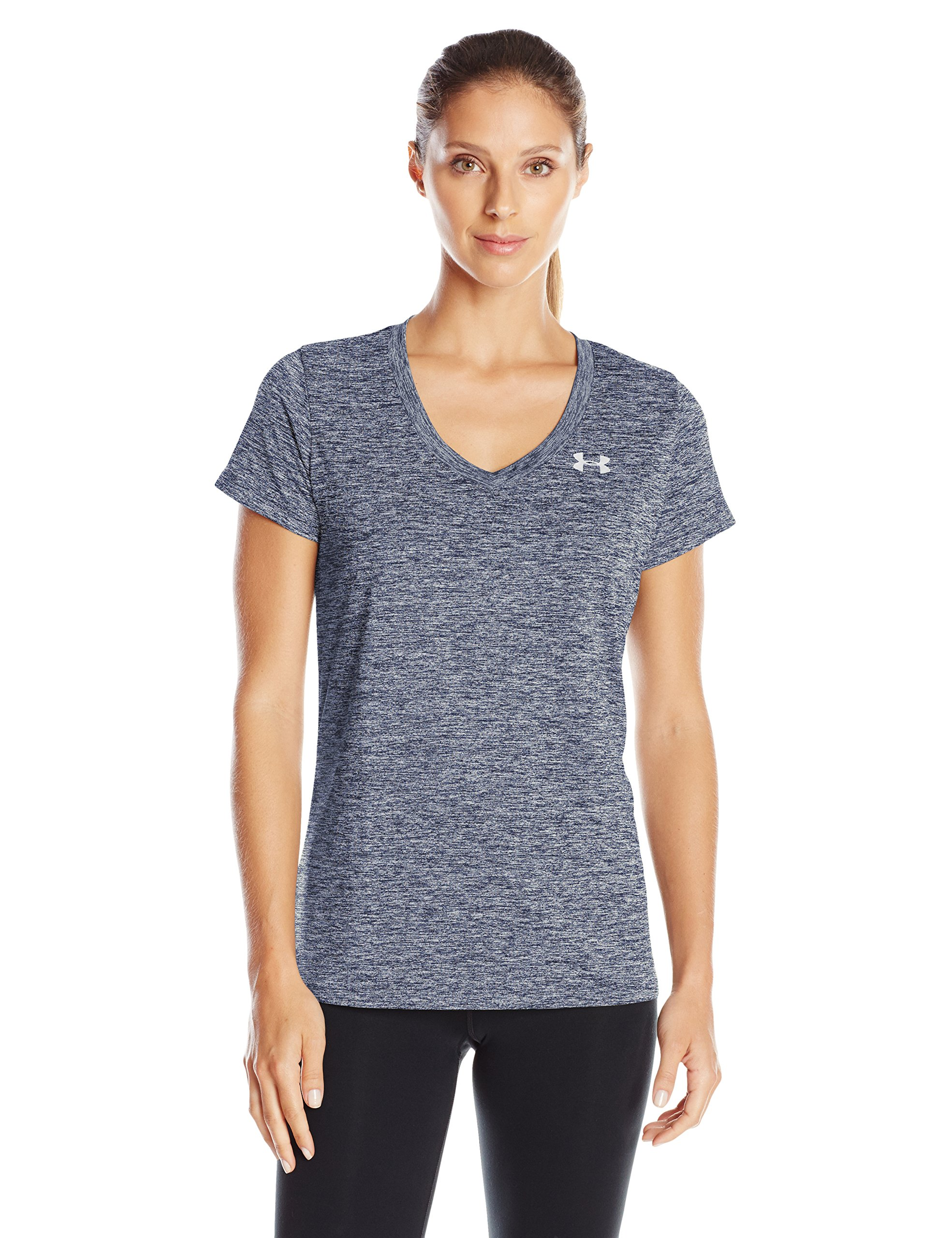 Under Armour Women's Tech Twist V-Neck, Academy (408)/Metallic Silver, X-Small