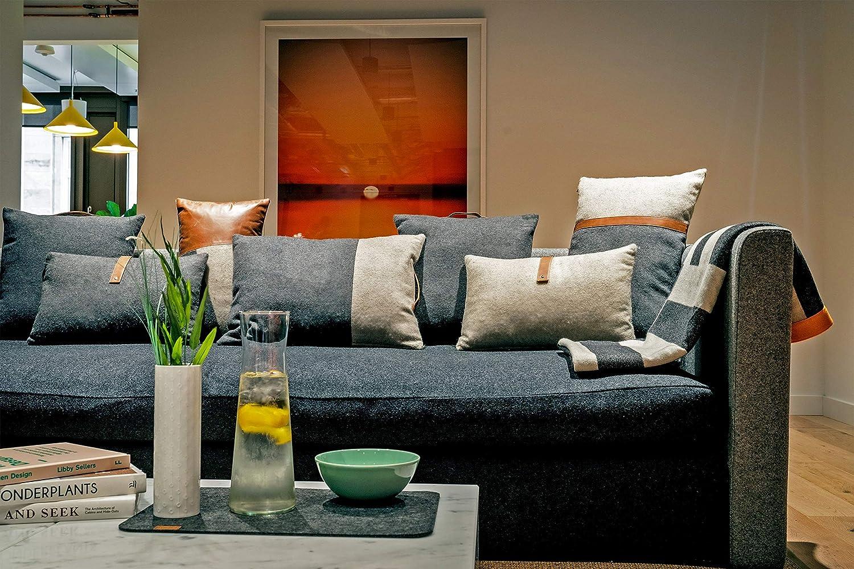 MIQIO/® Cuscino Decorativo in Feltro con Vera Pelle 45x45 cm Cuscino Divano Turku con Cuscino Interno