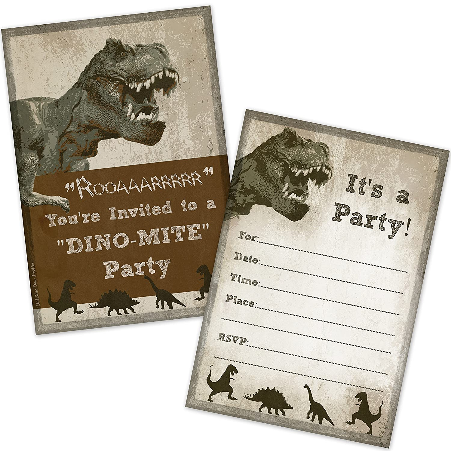 Amazon.com: T-Rex Dinosaur Birthday Party Invitations (20 Count ...