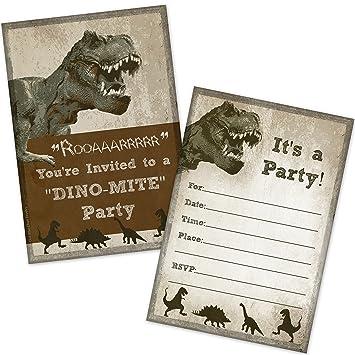 Amazon.com: T-Rex Dinosaur Birthday Party Invitations (20 Count ...