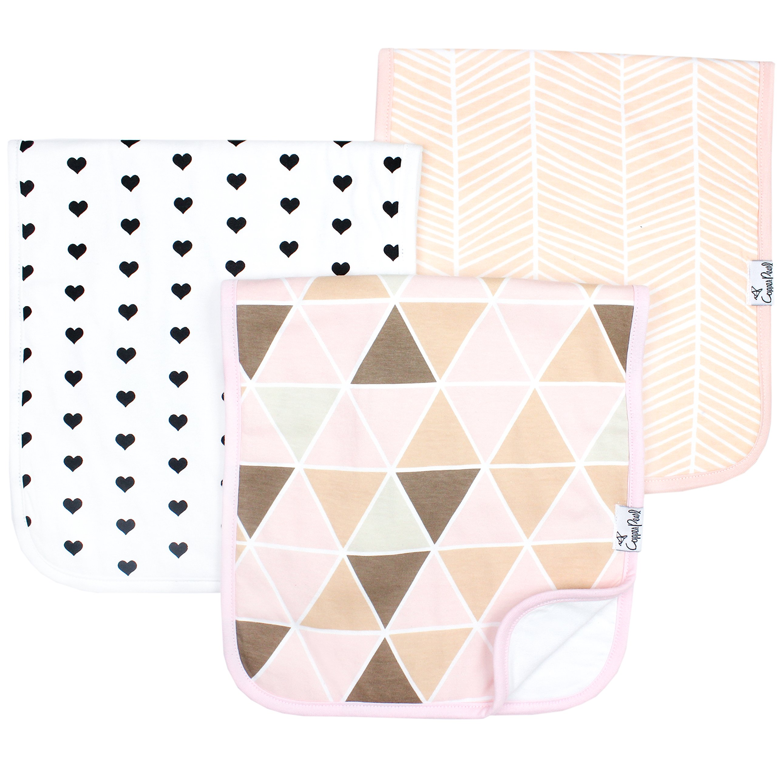 """Baby Burp Cloth Large 21''x10'' Size Premium Absorbent Triple Layer 3 Pack Gift Set For Girls """"Blush Set"""" by Copper Pearl"""