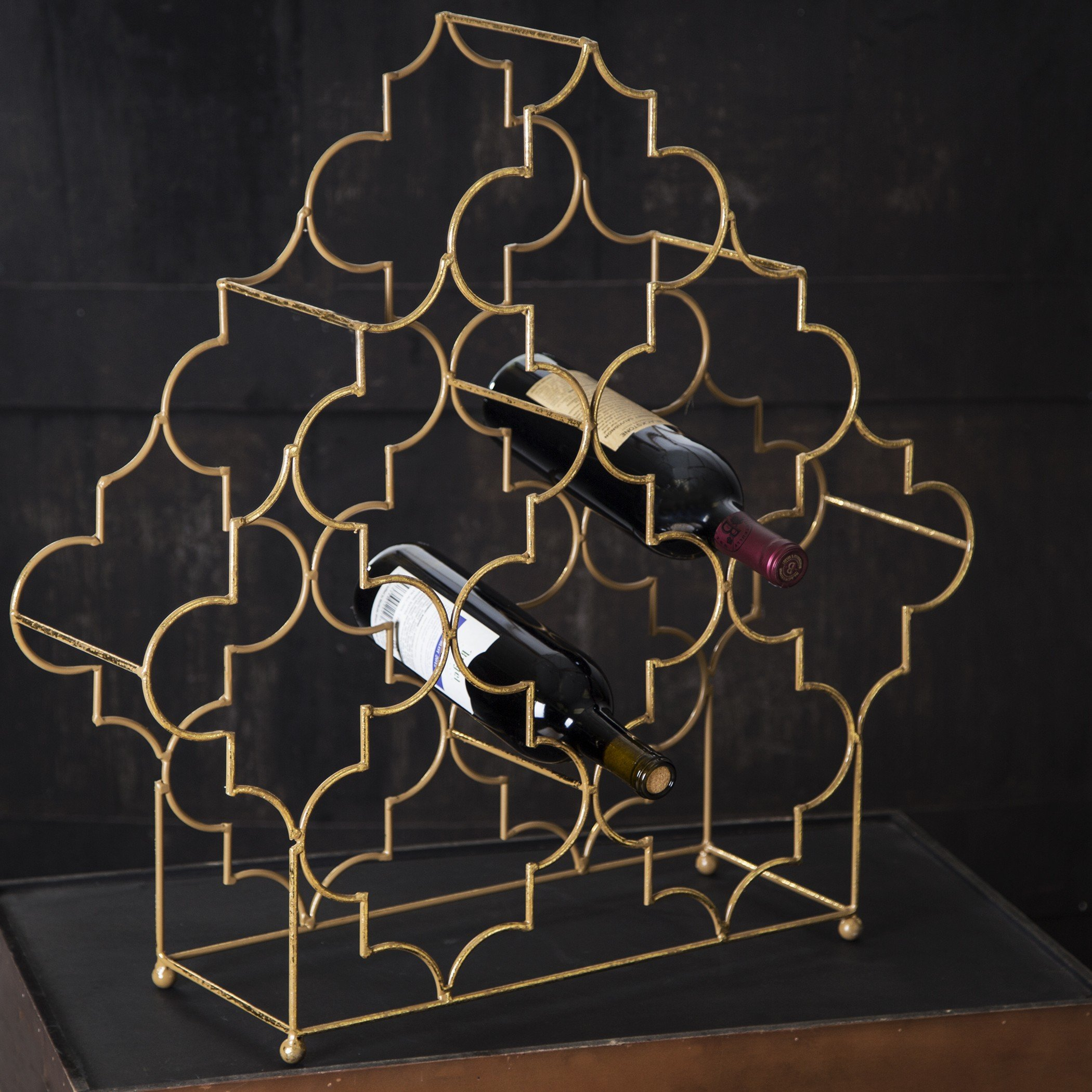 Elegant Modular 4 Tier Wine Rack, Wine Storage, Free-Standing Wine Bottle Display, 24inches High Antique Gold Metallic Holder, Holds 8 - 32 Bottles of Your Favorite Wines