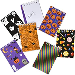 60 Mini Halloween Notepad for Kids Trick or Treat Party Favors 6 Designs Pumpkin Candy Corn Ghost Spiders Black Cat Witch Spiral Notebook School Supplies By Gift Boutique