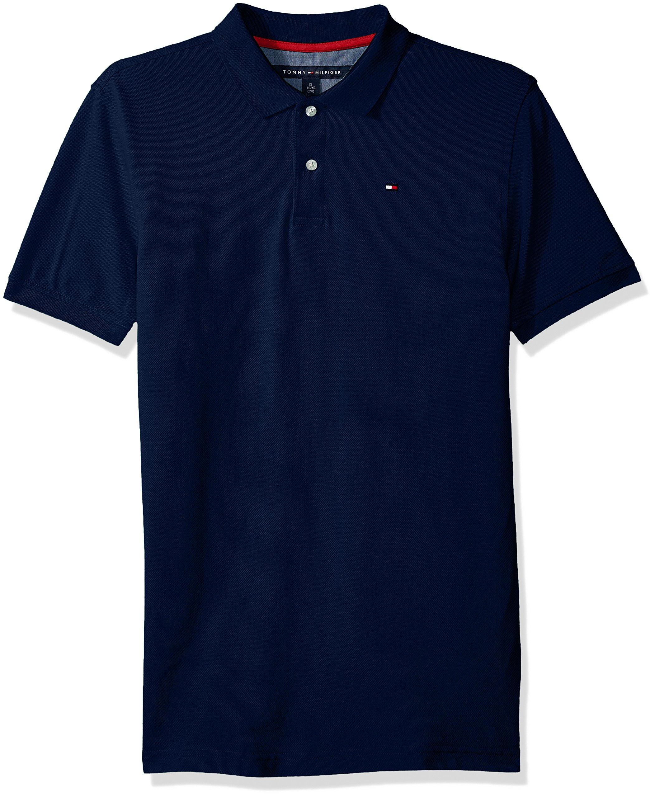 Tommy Hilfiger Boys' Little Short Sleeve Solid Ivy Polo Shirt, Estate Blue, 4