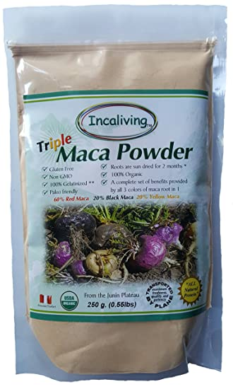 Triple Maca Powder by Incaliving (Red, Black and Yellow Maca) * 100%