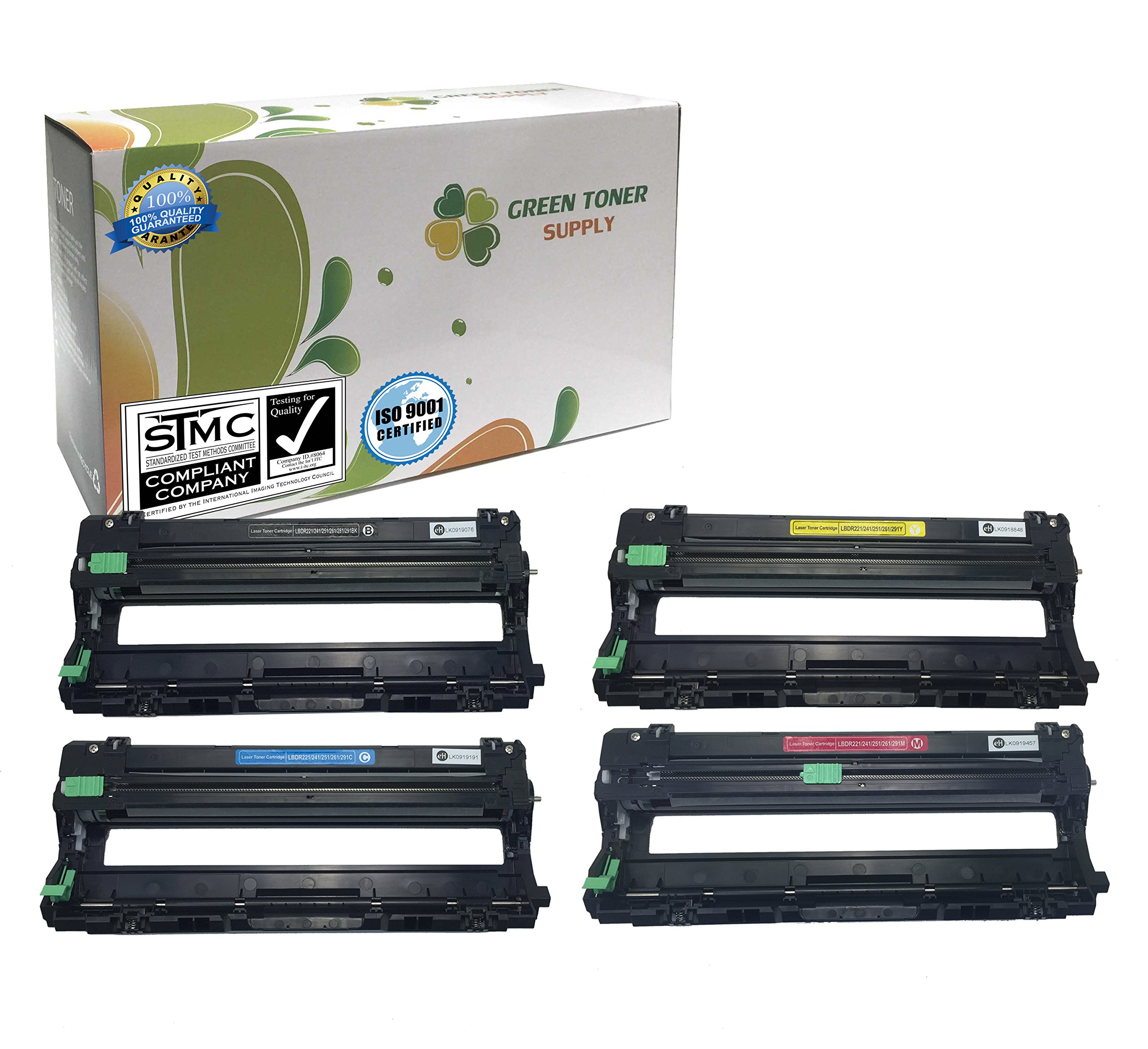 Green Toner Supply (TM) New Compatible [Brother DR221CL] 1 Black, 1 Cyan, 1 Yellow, 1 Magenta LaserJet Imaging Drum Cartridges