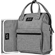 Backpack Diaper Bag with 3 Insulated Pockets and Large Compartments   Bonus Changing Pad and Stroller Straps   Premium, Large & Durable Baby Bag   Unisex, Heather Grey Nappy Bag for Mom and Dad