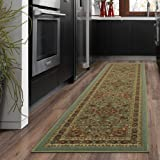 "Amazon Price History for:Ottomanson Ottohome Persian Heriz Oriental Design Runner Rug with Non-Skid Rubber Backing Area Rug, 20"" L x 59"" W, Sage Green/Aqua Blue"