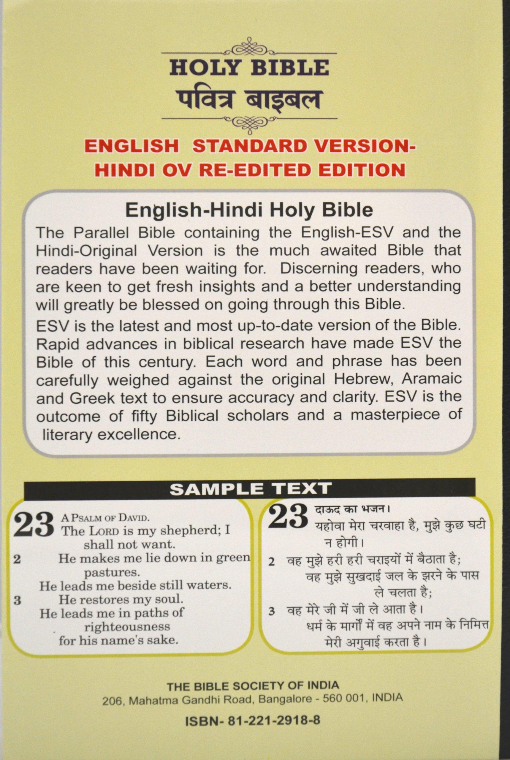 Buy The Holy Bible in English and Hindi(Diglot version, Imitation