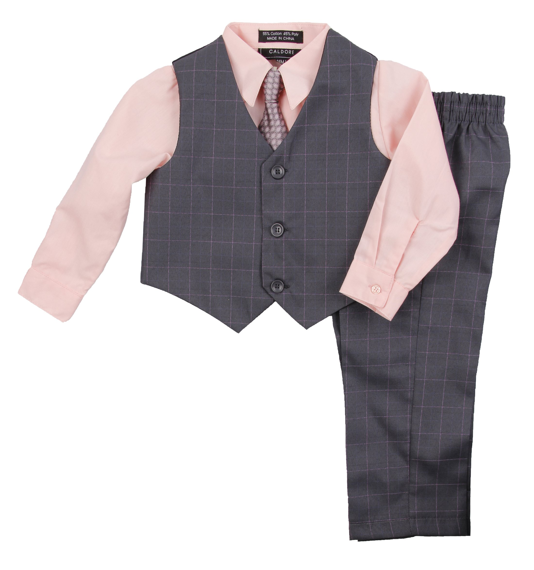 Boys Formal Suit Set - Vest Dress Shirt Pants and Matching Tie Dressy Wear Outfit by Caldore (2T, Peach)
