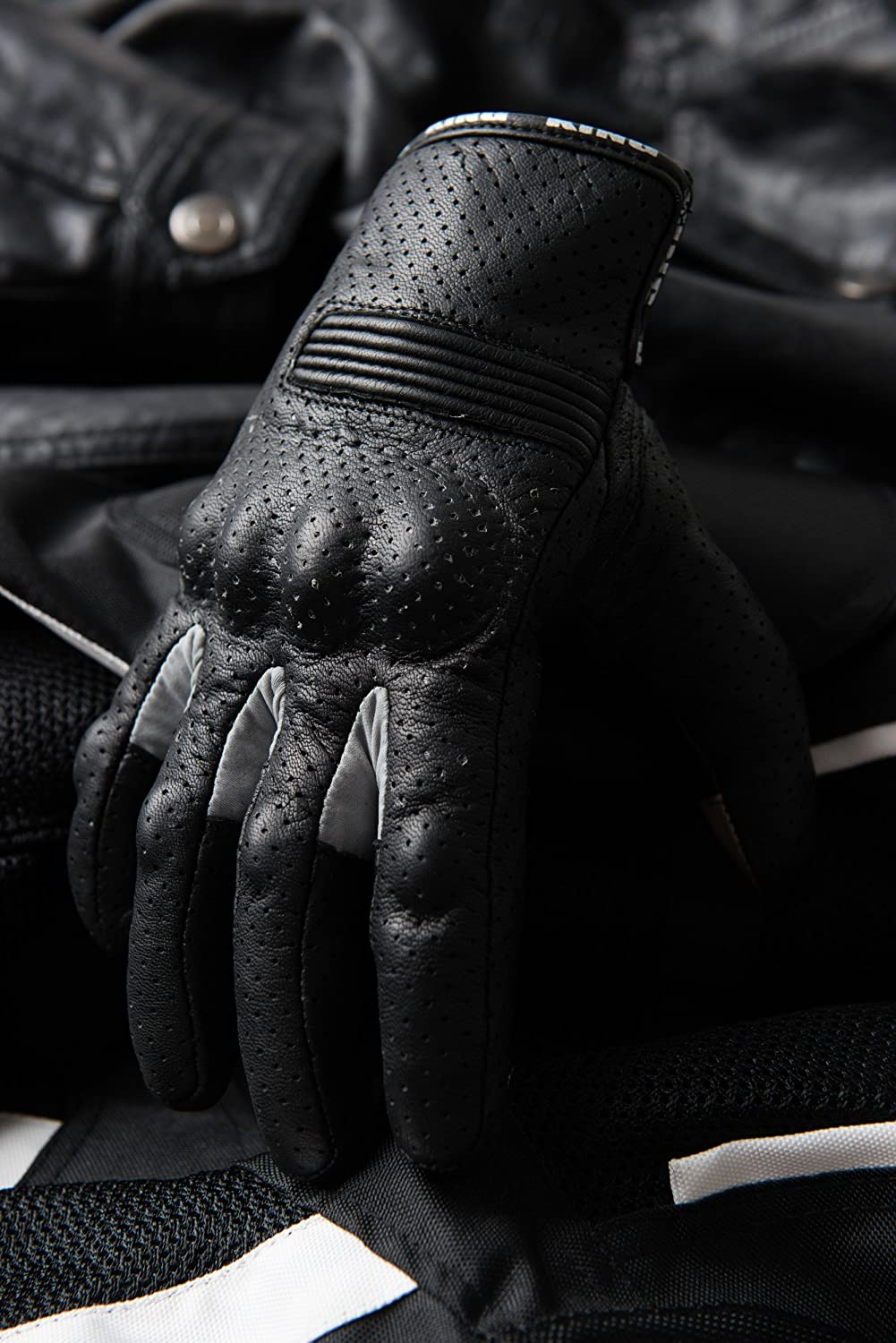 Breathable Moisture Wick Air Flow Technology Between Fingers Motorcycle Biker Gloves Black Premium Leather SWIFT Black-Sm Padded All Weather Feature for Men and Women Touchscreen