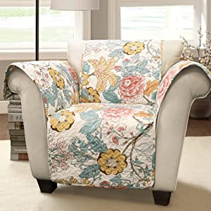 Lush Decor Sydney Furniture Protector-Floral Leaf Garden Pattern Armchair Cover-Blue and Yellow, Blue & Yellow
