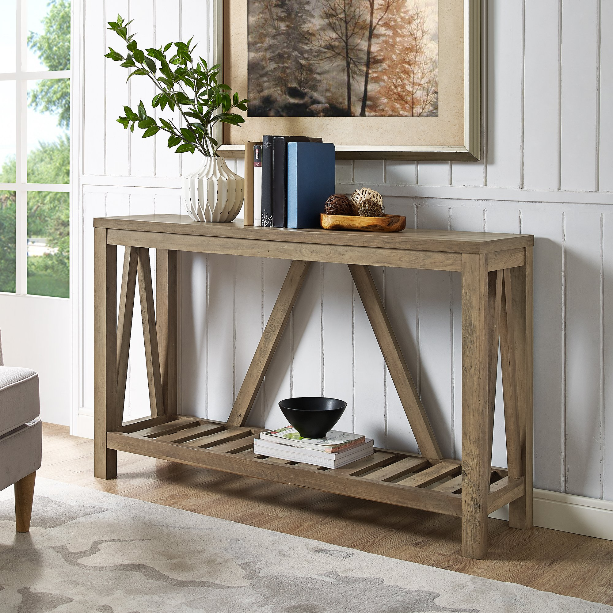 Home Accent Furnishings New 52 Inch Wide A-Frame Entry Table (52 Inch, Rustic Oak) by Home Accent Furnishings