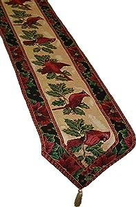 "Violet Linen Decorative Christmas Tapestry Table Runner, 13"" x 70"", Cardinal Design"