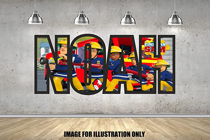 Fireman Sam Personalised Named Childrens Boys Girls Wall Sticker Wall Art Transfer Decal