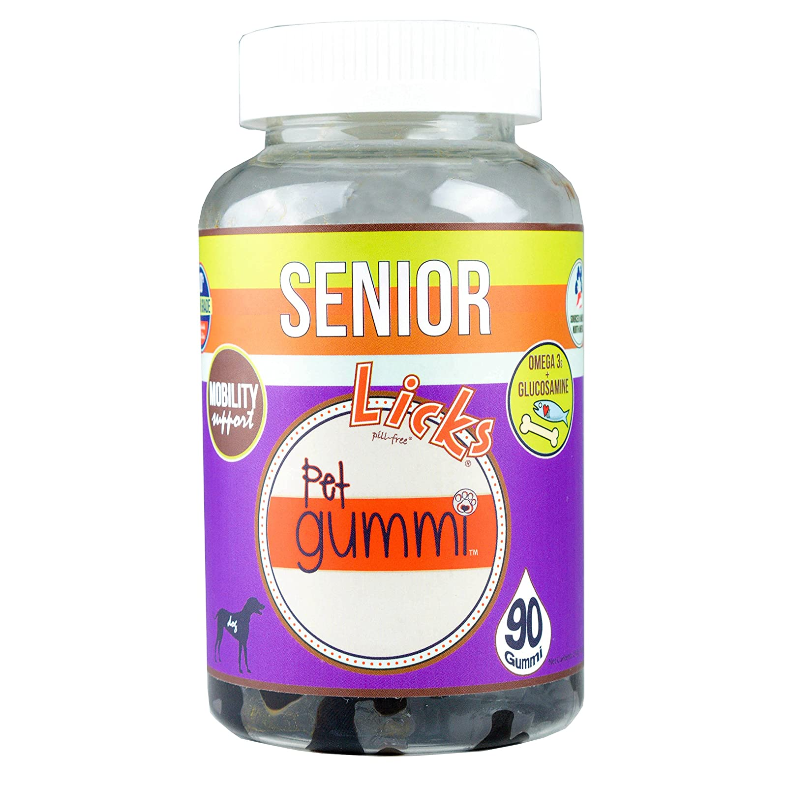 NEW! LICKS Dog Senior Pet Gummi Vitamins - - 6