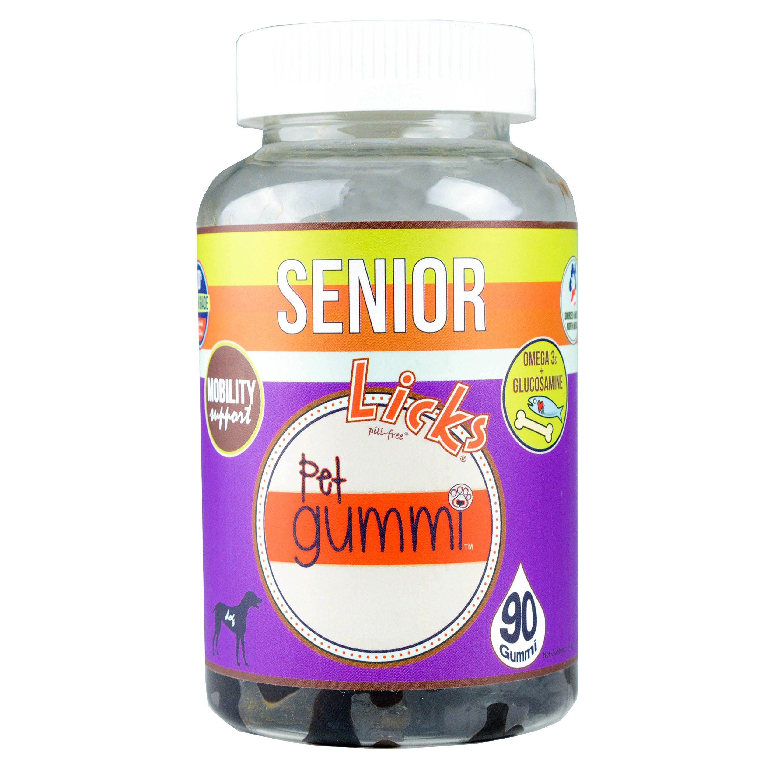 NEW! LICKS Dog Senior Pet Gummi Vitamins - 90-count