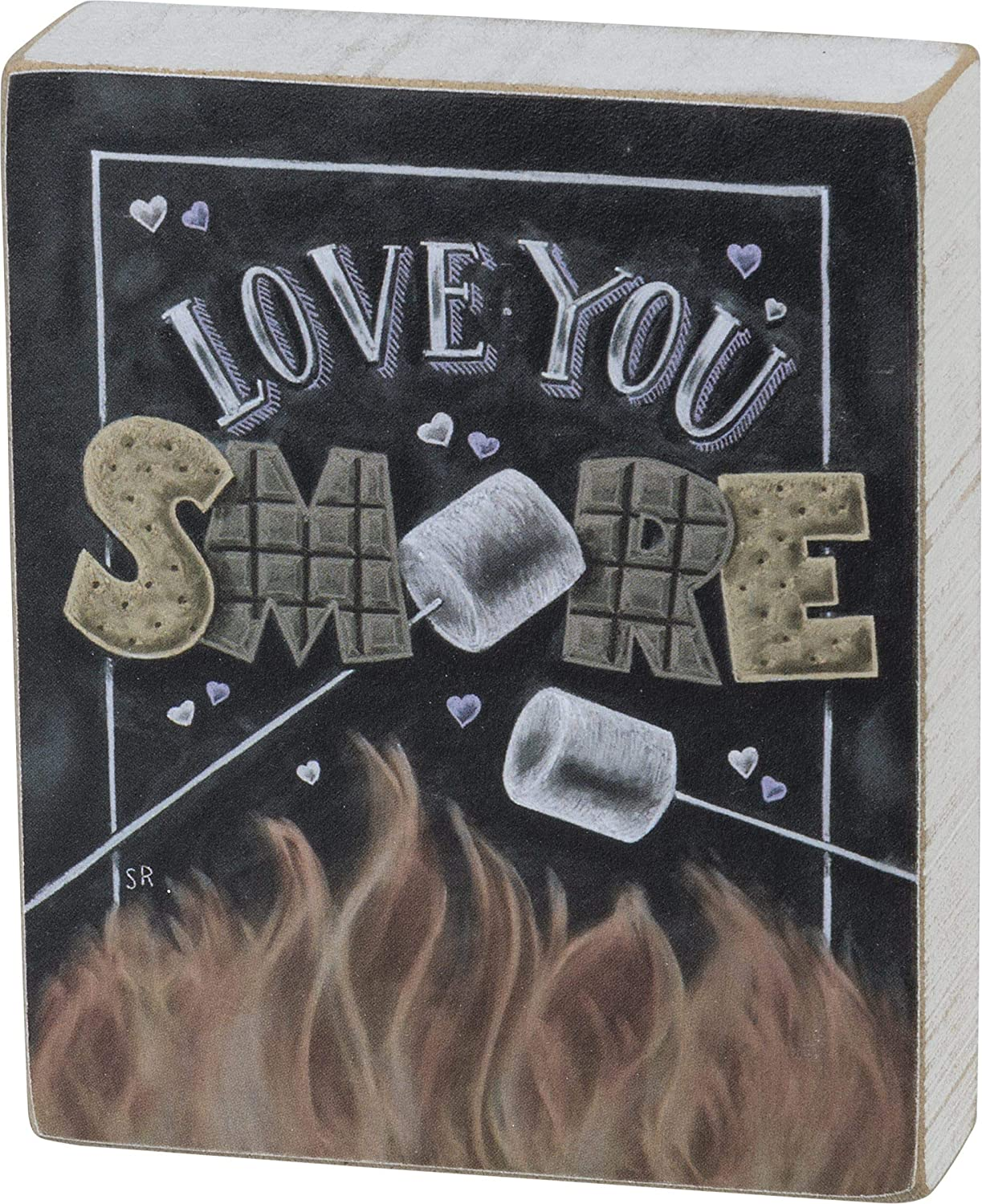 Primitives by Kathy 105201 Love You Smore Wooden Block Sign, 4.25-Inch, Multicolor