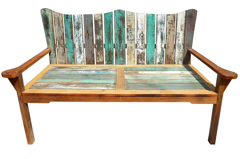 OUTFLEXX 3-Sitzer Gartenbank aus recyceltem Fischerbootholz mit Armlehnen, 150x75x110cm